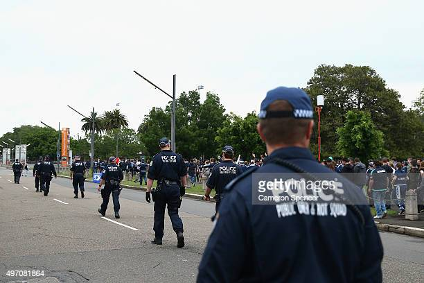 Police monitor the crowd prior to the round six ALeague match between Sydney FC and Melbourne Victory at Allianz Stadium on November 14 2015 in...