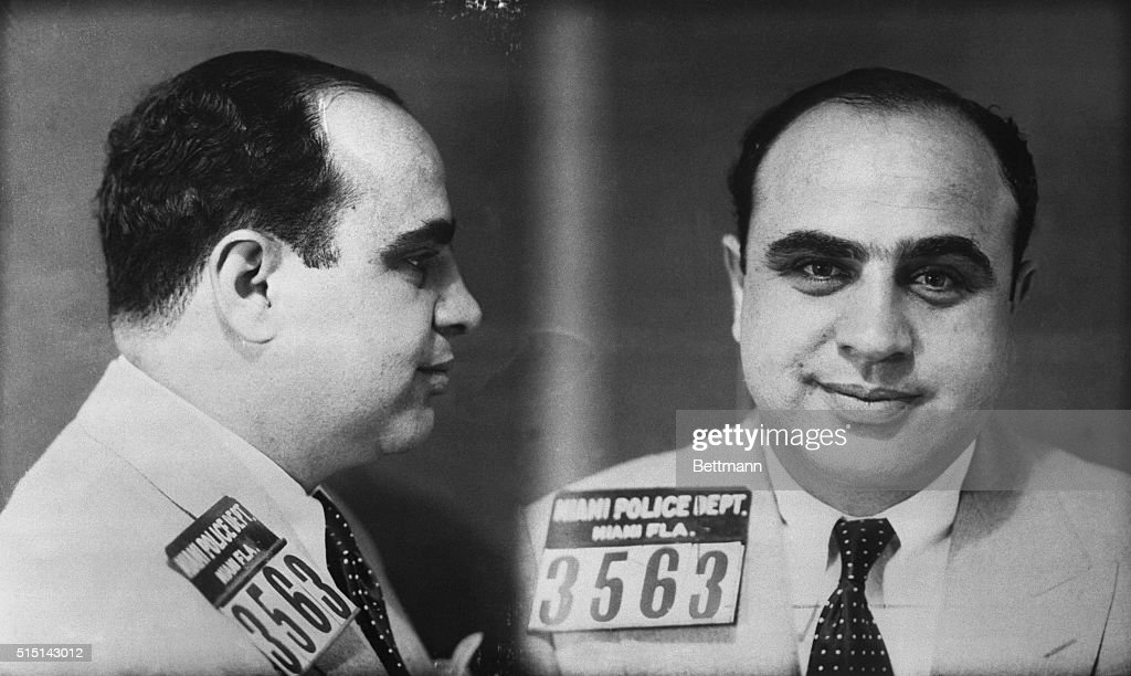 Police mug shot of Chicago Mobster <a gi-track='captionPersonalityLinkClicked' href=/galleries/search?phrase=Al+Capone&family=editorial&specificpeople=93051 ng-click='$event.stopPropagation()'>Al Capone</a>. The photograph was taken by the Miami Police Department.