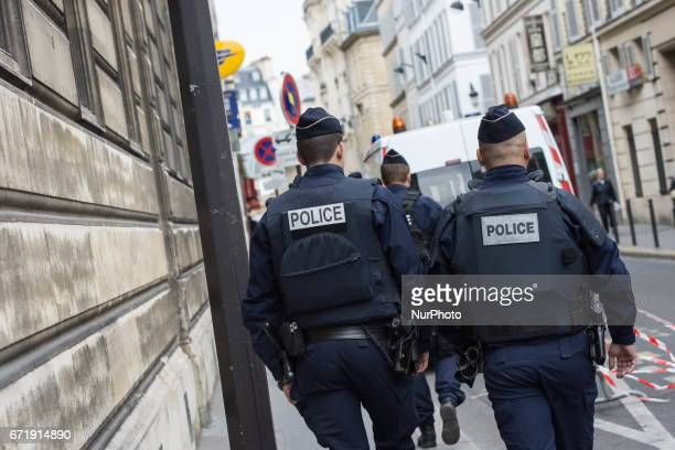 Police near a polling station on April 23 2017 in Paris France France will hold the second round of the presidential elections on 07 May 2017
