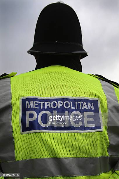 Police Office stands in Parliament Square on February 15 2015 in London England