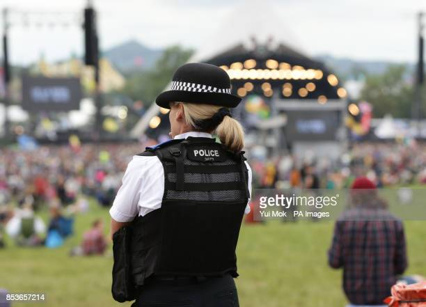 A police officer at the Glastonbury Festival at Worthy Farm in Somerset
