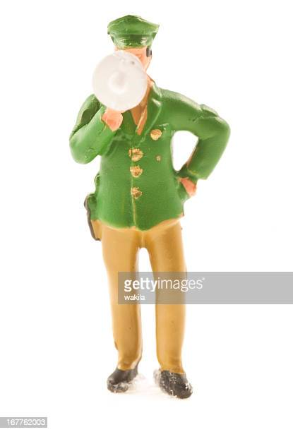 Police Officer figurine with megaphone
