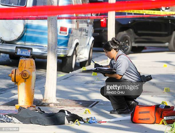 A police officer investigates the scene near Pearson Park in Anaheim California February 27 after three counterprotesters were stabbed while clashing...