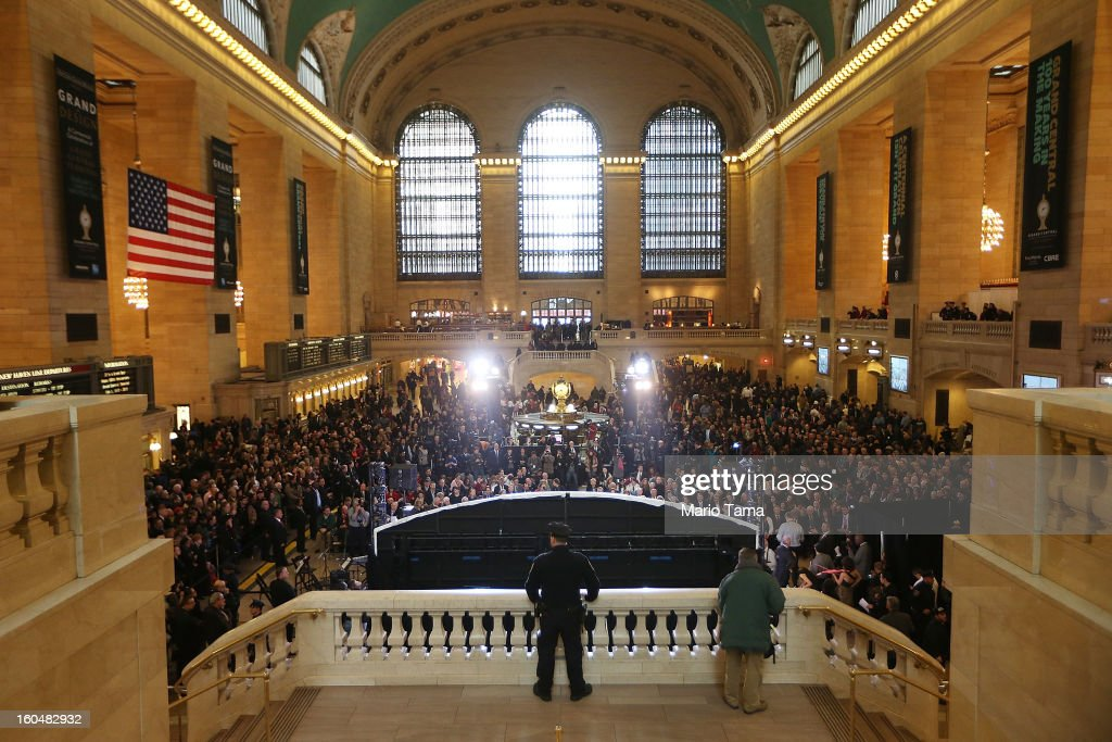 A police officer keeps watch in Grand Central Terminal during centennial celebrations on the day the famed Manhattan transit hub turns 100 years old on February 1, 2013 in New York City. The terminal opened in 1913 and is the world's largest terminal covering 49 acres with 33 miles of track. Each day 700,000 people pass through the terminal where Metro-Noth Railroad operates 700 trains per day.