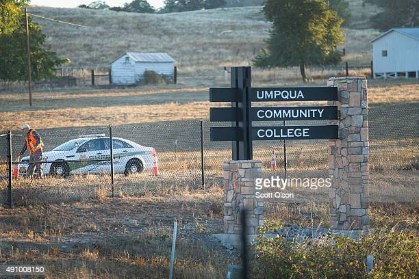 A police officer leaves Umpqua Community College on October 2 2015 in Roseburg Oregon Yesterday 10 people were killed and another seven were wounded...