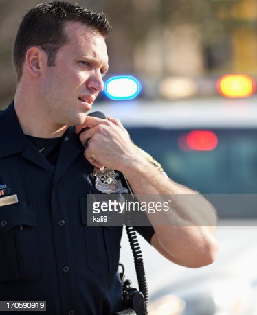 Police officer on radio