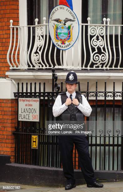 A police officer outside the embassy of Ecuador in Knightsbridge central London where Wikileaks founder Julian Assange is claiming asylum in an...