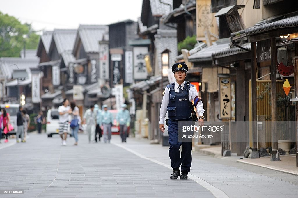 A Police officer patrols as Prime Minister Shinzo Abe visits the Ise Jingu (Shrine) on May 25, 2016 in Ise, Mie Prefecture, Japan.