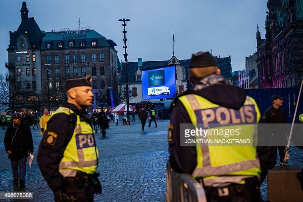 Police officer prepare Malmo's main square for the live broadcasting of the Champions League match between Malmo FF and Paris SaintGermain on...