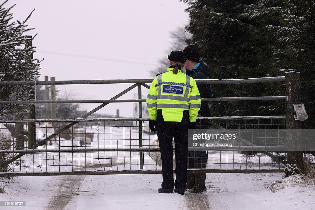 A police officer stands guard at the gate of the Peter Boddy slaughterhouse which was raided as part of the police inquiry into the sale of horsemeat being sold as beef on February 13, 2013 in Todmorden, England. Officials searching for the source of horsemeat being passed off as beef have raided two meat plants in the United Kingdom. Police and officials from The British Food Standards Agency entered the Peter Boddy slaughterhouse in Todmorden which is suspected to have supplied horse carcasses to Farmbox Meats in Aberystwyth, Wales.