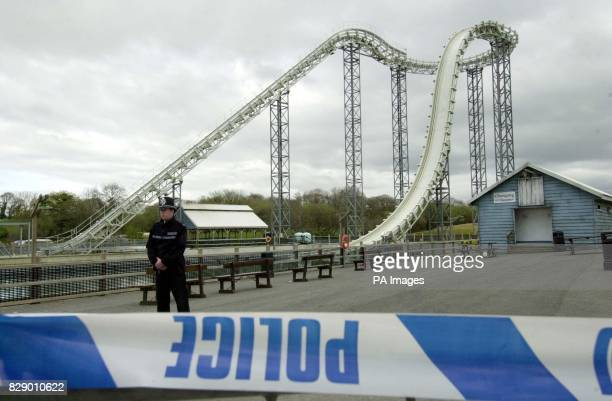 A police officer stands guard at the Hydro ride at Oakwood Leisure Park in west Wales where Hayley Williams of Pontypool died yesterday after falling...