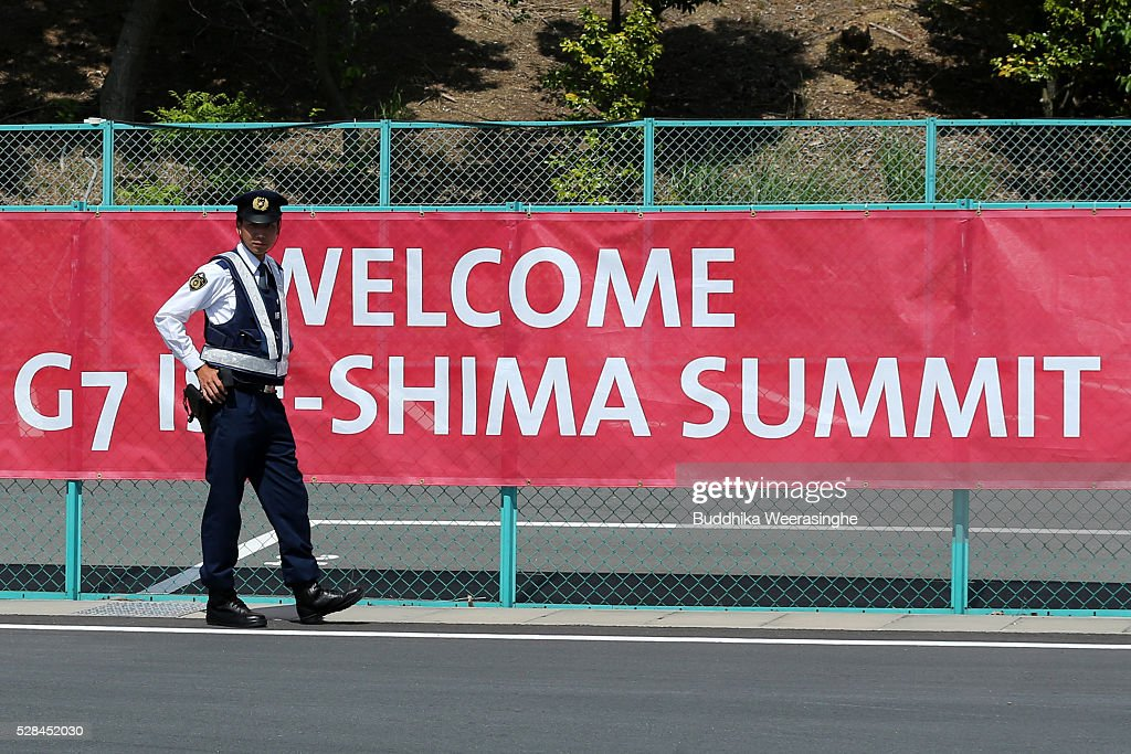 A police officer stands guard front of the G7 Ise-shima summit banner on May 5, 2016 in Ise, Japan. The G7 summit will be held in Ise-Shima, Mie prefecture on May 26 and 27, 2016.