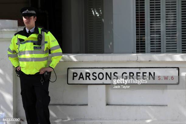 A police officer stands next to a street sign near Parsons Green Underground Station on September 15 2017 in London England Several people have been...
