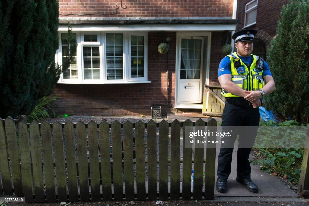A police officer stands outside a property during a search of a house on Glyn Rhosyn, Pentwyn, which is believed to be the home of Darren Osborne, who has been named as the man responsible for the Finsbury Park Mosque attack, on June 19, 2017 in Cardiff, Wales. A van ploughed into pedestrians near Finsbury Park Mosque on Severn Sisters Road, North London, at around 12.20 this morning. Police have reported that eight people were injured and one killed. A 47-year-old man has been arrested. Prime Minister Theresa May has said police are treating it as a potential terrorist incident.