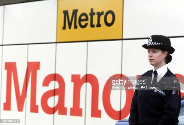 A police officer stands outside the closed Manors Metro station in Newcastle after a baby boy was assaulted in his pram at the station The...