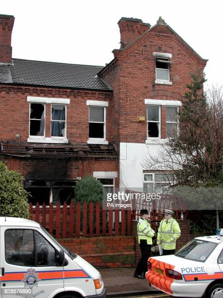 Police officer stands outside the house in Grimsby where a 45 yearoldman father and his eightyearold daughter died in a house fire * Fire officers...