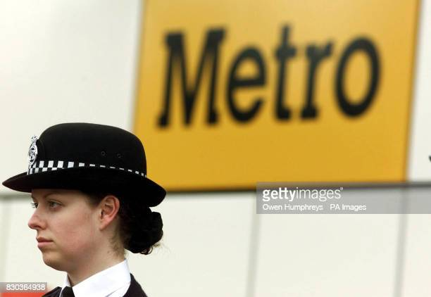 A police officer stands outside the Manors Metro station in Newcastle which was closed after a baby boy was critically ill in hospital after he was...