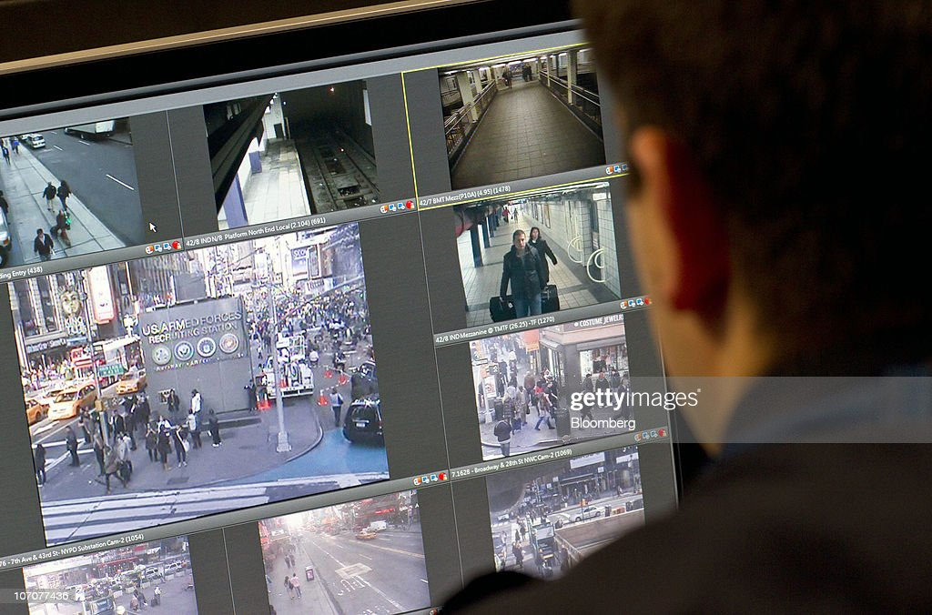 A police officer watches a live video feed from his monitor at the New York Police Department surveillance headquarters in New York on Monday Nov 22...