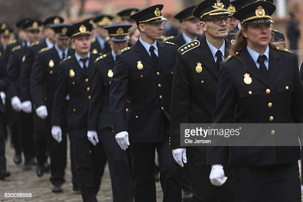 Police officers and coworkers arrives to the state funeral of the murdered Danish police officer jesper Jul at Roskilde Cathedral on December 16 2016...