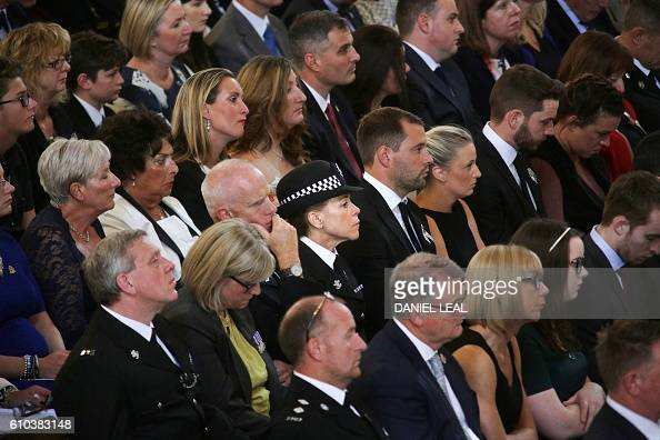 Police officers and family members attend the National Police Memorial Day Service at St Paul's Cathedral in London on September 25 2016 The annual...