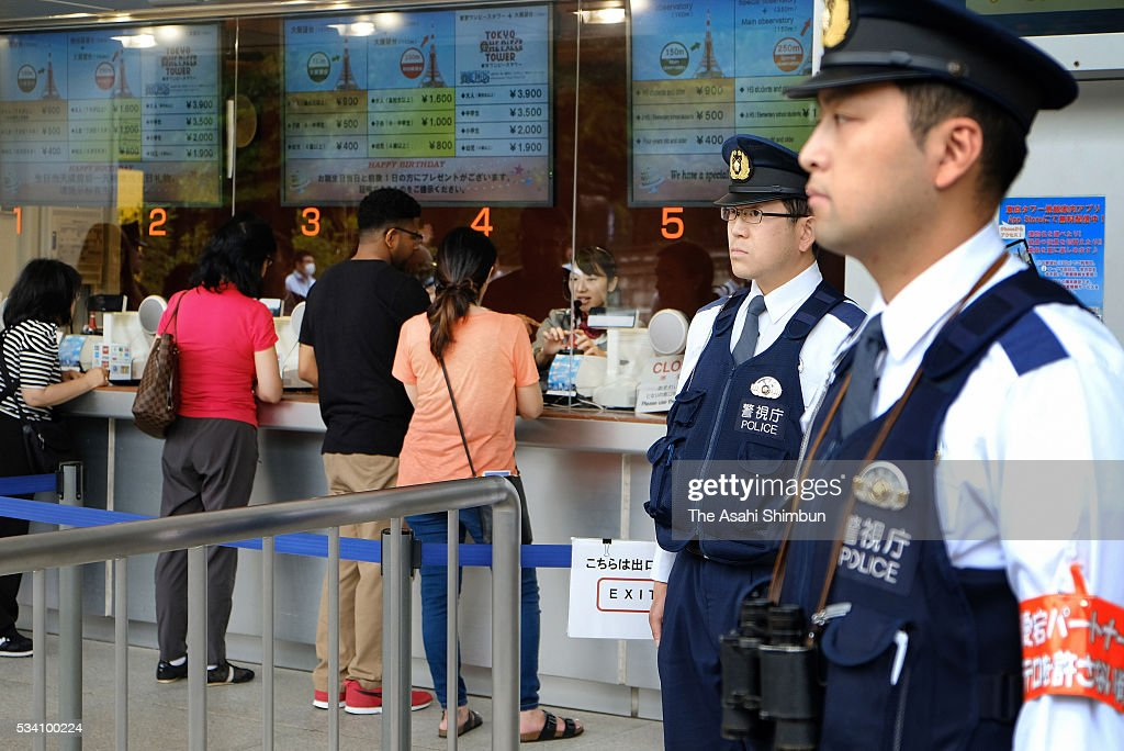 Police officers are deployed as the security is stepped up ahead of the Group of Seven summit at the Tokyo Tower on May 25, 2016 in Tokyo, Japan. The Group of Seven summit takes place on May 26 and 27 to discuss key global issues such as global economy and anti terrorism measures.