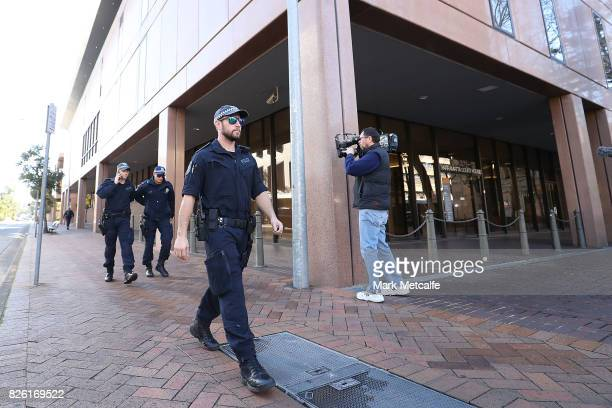 Police officers are seen at Parramatta Court on August 4 2017 in Sydney Australia Mahmoud Khayat and Khaled Mahmoud Khayat were arrested by...