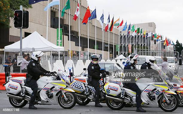 Police officers are seen at the car entrance of the Brisbane Convention and Exhibition Centre on November 12 2014 in Brisbane Australia World...