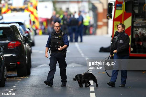 Police officers at Parsons Green Underground Station on September 15 2017 in London England Several people have been injured after an explosion on a...