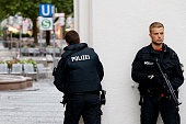 Police officers at Stachus in the city center respond to the shooting at the Olympia Einkaufzentrum on July 22 2016 in Munich Germany According to...