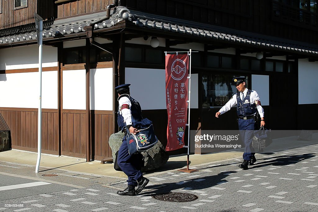 Police officers carry their bags as walk for special duty of security, G7 Ise-shima summit on May 5, 2016 in Ise, Japan. The G7 summit will be held in Ise-Shima, Mie prefecture on May 26 and 27, 2016.