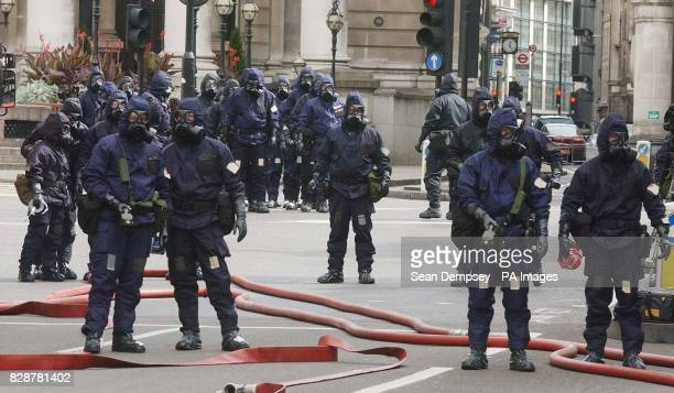 Police officers dressed in Personal Protective Equipment attend a simulated major disaster in the centre of London University College Hospital...
