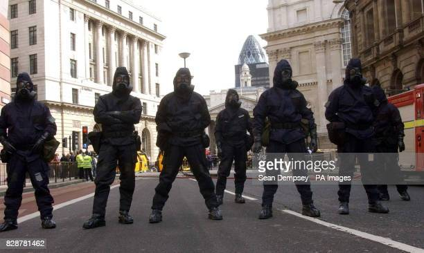 Police officers dressed in Personal Protective Equipment attend a simulated terrorist attack in the centre of London University College Hospital...