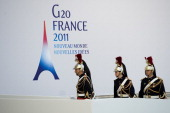 Police officers dressed up in full uniform are seen arriving to the Festival and Congress Palace ahead of the G20 Summit on November 2 2011 in Cannes...