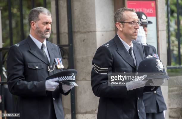Police officers from around the world attend the funeral service of PC Keith Palmer on April 10 2017 in London United Kingdom A Full Force funeral is...