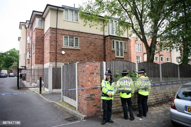 Police officers guard the location of a building where it is believed a raid took place in connection with terrorist Salman Abedi on May 24 2017 in...