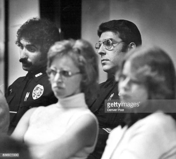 Police Officers in Audience Watch proceedings They are Charles McGee left and Lt Dennis Peterson Credit Denver Post Inc