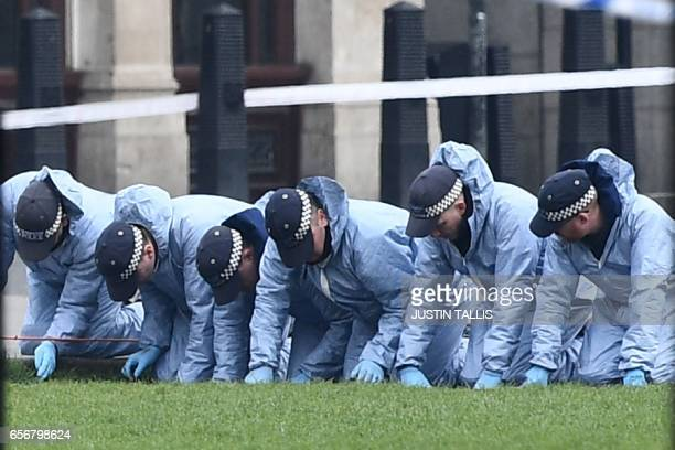 Police officers in forensics suits search the grass on Parliament Square gardens outside the Houses of Parliament in central London on March 23 2017...