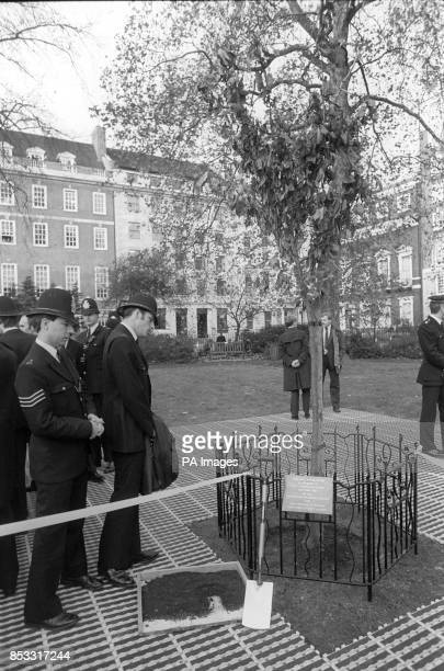 Police officers look sadly at the flowering cherry tree and commemorative plaque planted in St James's Square London in memory of their colleague WPC...