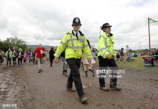 Police officers on duty at the Glastonbury Festival at Worthy Farm in Somerset