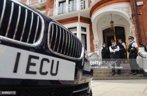 Police officers outside the embassy of Ecuador in Knightsbridge central London where Wikileaks founder Julian Assange is claiming asylum in an effort...