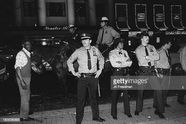 Police officers outside the front of Madison Square Garden New York City circa 1980