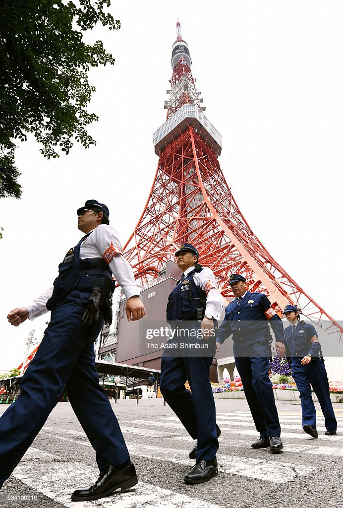 Police officers patrol as the security is stepped up ahead of the Group of Seven summit at the Tokyo Tower on May 25, 2016 in Tokyo, Japan. The Group of Seven summit takes place on May 26 and 27 to discuss key global issues such as global economy and anti terrorism measures.