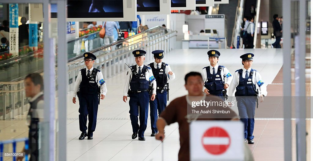 Police officers patrol as the tightest security is in place as world leaders are scheduled to arrive ahead of the Group of Seven summit at the Centrair International Airport on May 25, 2016 in Tokoname, Aichi, Japan. The Group of Seven summit takes place on May 26 and 27 to discuss key global issues such as global economy and anti terrorism measures.