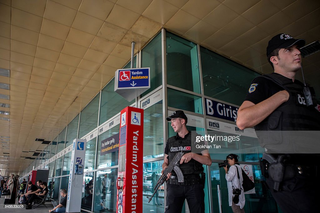Police officers patrol at the country's largest airport, Istanbul Ataturk, following yesterday's blast on June 29, 2016 in Istanbul, Turkey. Three suicide bombers opened fire before blowing themselves up at the entrance to the main international airport in Istanbul yesterday. The Istanbul Governor's Office says 41 people have been killed, 37 of the victims have been identified, including 10 foreign nationals and three people with dual citizenship. More than 230 people were wounded but 109 have been discharged from hospitals in the deadly suicide bombing attack in Istanbul's Ataturk airport blamed on the Islamic State group.