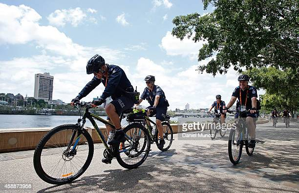 Police officers patrol the Brisbane river by bike on November 13 2014 in Brisbane Australia World economic leaders will travel to Brisbane for the...