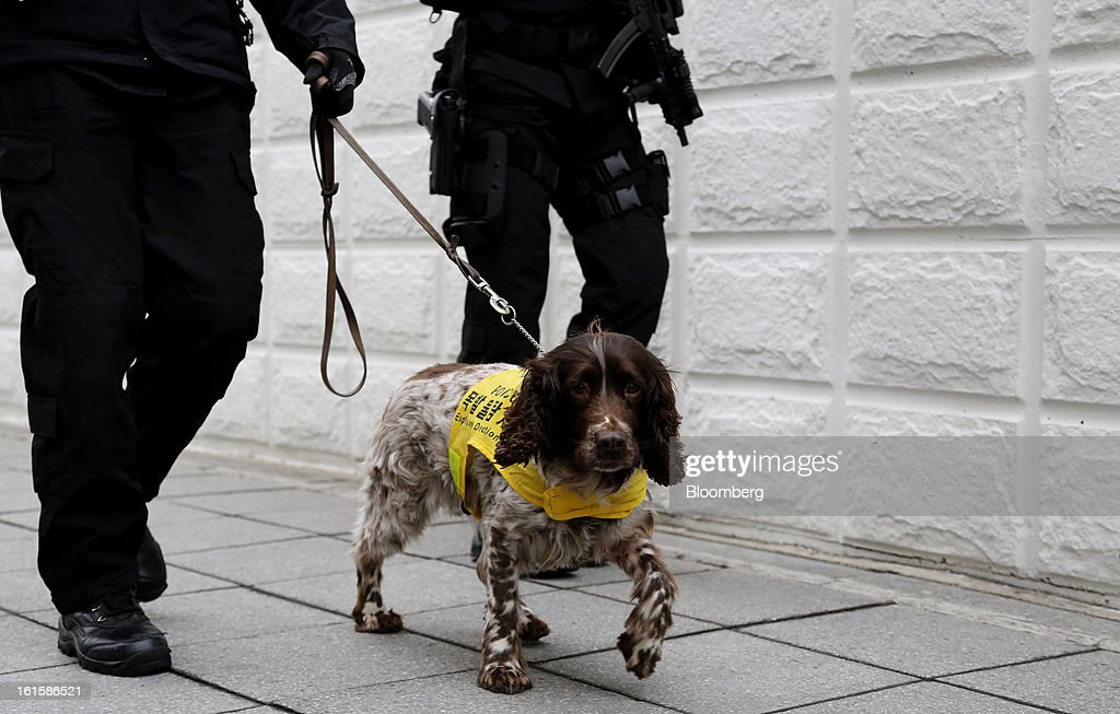 Police officers patrol with a dog around the U.S. Embassy in Seoul, South Korea, on Tuesday, Feb. 12, 2013. North Korea conducted its third underground nuclear test today, underscoring a disregard for an international community that has already isolated the totalitarian state from the global economy. Photographer: SeongJoon Cho/Bloomberg via Getty Images