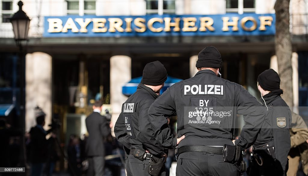 Police Officers secure the 52nd Security Conference in Munich, Germany on February 12, 2016. The conference on security policy takes place from Feb. 12, 2016 until Feb. 14, 2016.