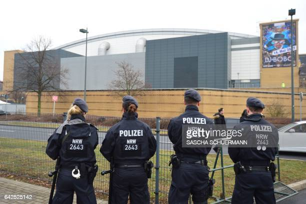 Police officers secure the stadium in Oberhausen western Germany prior to the meeting h0ld by the Turkish Prime Minister Binali Yildirim on February...