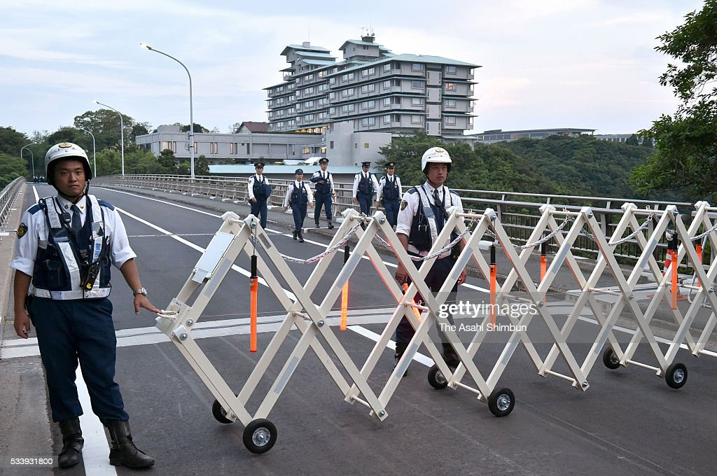 Police officers stand guard at the Kashikojima Ohashi bridge which connect the mainland and Kashikojima island, main venue of the summit, ahead of the G7 Summit on May 24, 2016 in Shima, Mie, Japan. The summit takes place on May 26 and 27.