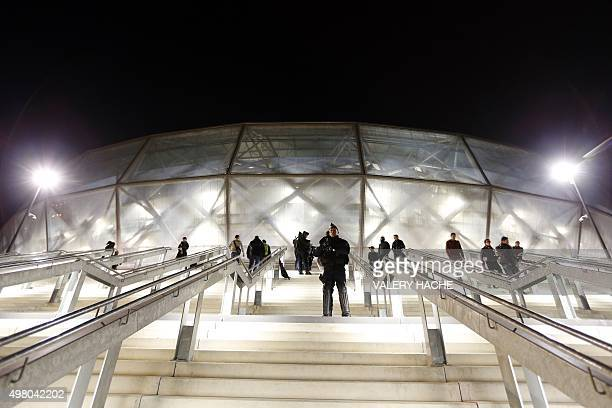 Police officers stand guard outside the 'Allianz Riviera' stadium in Nice southeastern France before the French L1 football match Nice vs Lyon on...